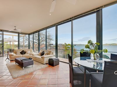 Open plan living with panoramic views of the Derwent River