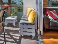 Casual seating area on balcony