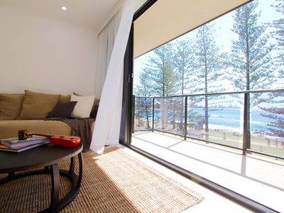 Comfy lounge with views of Burleigh Beach