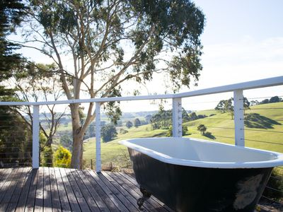 Soak in the claw foot tub looking over the rolling hills