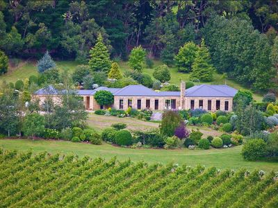 Gorgeous Sandstone Home on stunning acreage amidst vines and manicured gardens