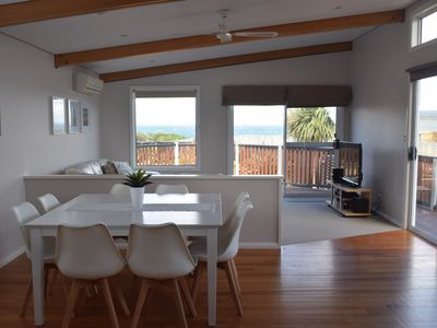 Kitchen through to living area and ocean views