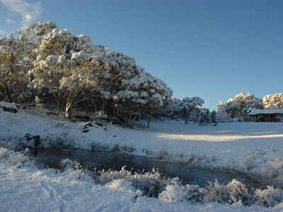 "Our lovely B & B Alcheringa, meaning ""Dreamland"", in the snow."
