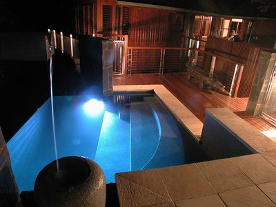 Saltwater Infinity edge pool by night